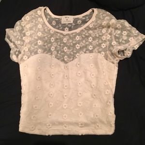Urban Outfitters Mesh Cream Floral Crop Top